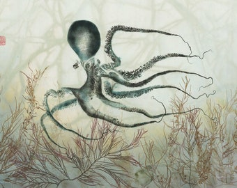 Octopus' Garden- Limited Edition Reproduction of gyotaku -- Octopus