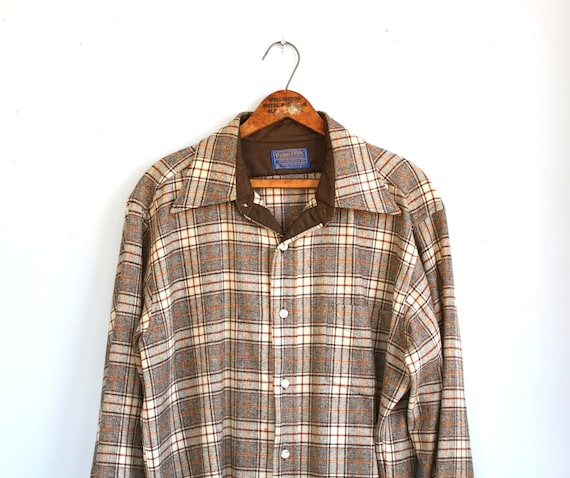 vintage 1970s Pendleton shirt. Men large. Plaid wool fall colors / rustic woodland / winter warmth / the TATER TOTS shirt