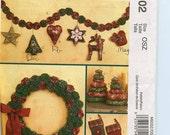 McCall's Christmas Crafts Pattern M6002 Yo-Yo Wreath, Garland, Stockings, Star, Heart, Deer, Snowflake, Bird Ornaments, Tabletop Trees UNCUT