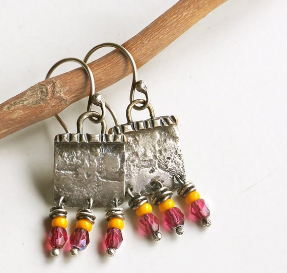 Petite Poco Colores Boho Earrings, Sterling Silver Earrings, Tribal Jewelry, Rustic Earrings, Metal Jewelry, Rustic Jewelry