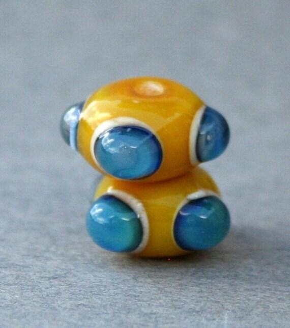 Handmade Yellow and Blue Lampwork Glass Beads (Pair)
