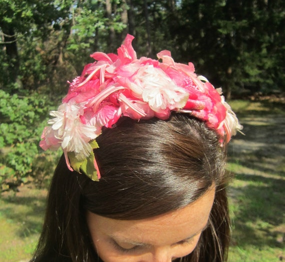 vintage hat - pink / fuschia / white floral headband design