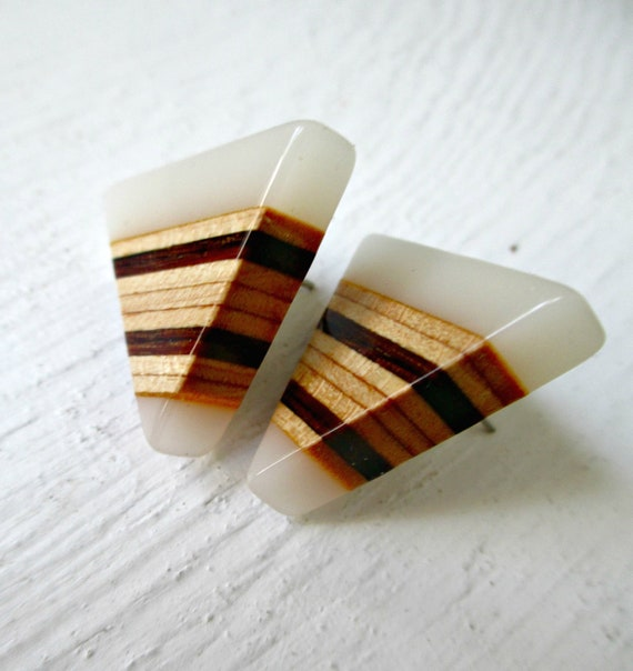 Vintage Wood & Lucite Post Earrings. Triangles