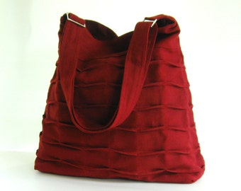 Sale - Deep Red Hemp/Cotton Bag, diaper bag, tote, pleats, purse - ROSANNE