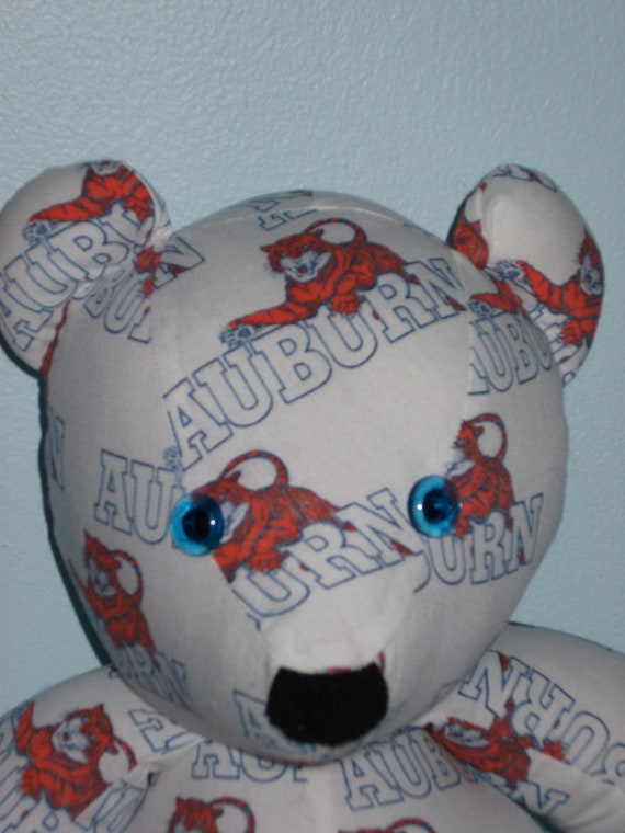 Teddy Bear Auburn Tigers Orange and White with Blue Eyes