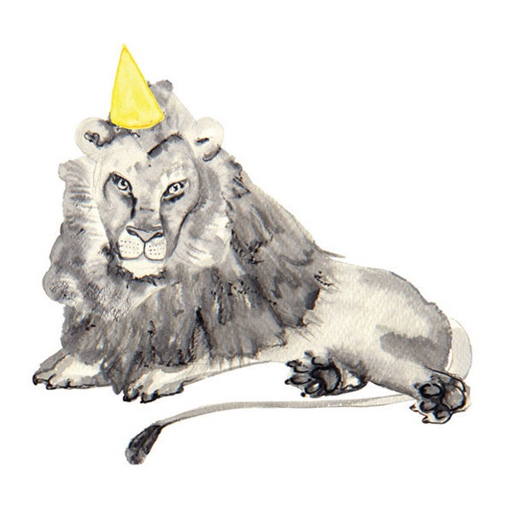 Illustrated blank A5 Card with Envelope - Watercolour, Pen and Ink - Party Animal - Lion with party hat