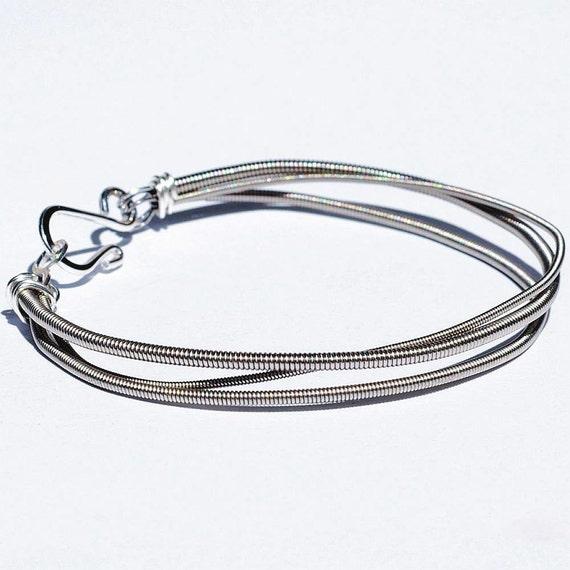 bass guitar string bracelet 3 strand upcycled jewelry. Black Bedroom Furniture Sets. Home Design Ideas