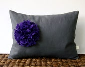 Purple Pom Pom Flower PILLOW COVER Gray Linen (12in x 16in) by JillianReneDecor Indigo Violet Fall Home Decor Gift for Her (Ready to Ship)
