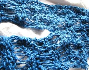 Blue Velvet Sapphire Recycled Banana Silk Hand Knit Scarf