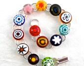 Bracelet Link Chain Jewelry Millefiori Fused Glass Adjustable Artisan Handcrafted Meadow