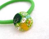 Ponytail Holder Hair Accessories Millefiori Fused Glass Handmade Minnesota Artisan Handmade Dandelion Grass