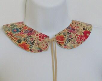 Leather Floral Peter Pan Collar / Antique Floral Design Beige Goatskin / Pink, Blue, Green, Purple, Orange, Red Accessory / Gift Under 40