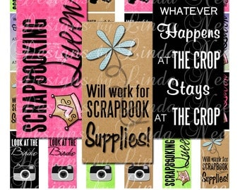 New - Scrapbooking Queen Quotes (1 x 2 inch) Slide Images Digital Collage Sheet printable stickers magnet button