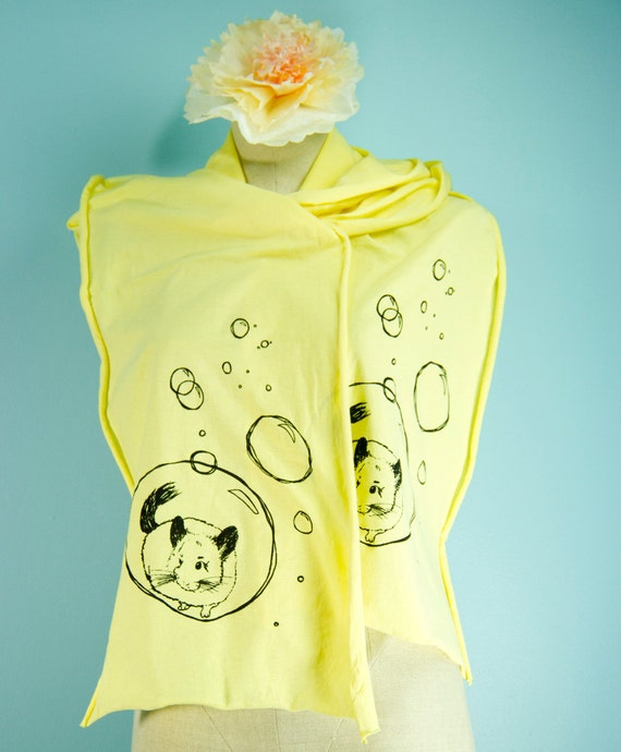 Lemon Yellow Bubbly Chin Screen Printed Jersey Scarf - LAST ONE