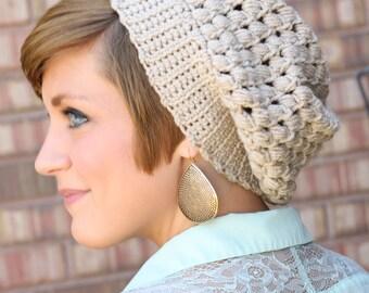 Slouch crochet hat, size teen - adult womens