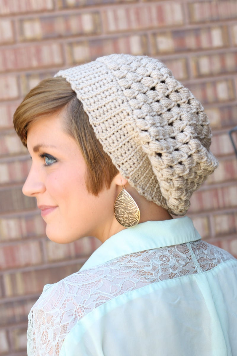 Slouch crochet hat, size teen - adult already made and ready to ship today.