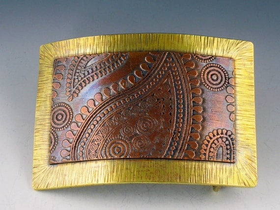 Belt Buckle, Copper and Brass, paisley, rectangle