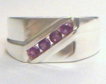 Purple Amethyst Handmade Sterling 925 Silver Unisex Gents Ladies Ring size 8.5