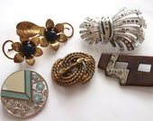 Vintage Art Deco Collection of brooch findings for craft supplies / projects