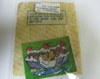 Vintage CJ Cracker Jack Dexterity Puzzle Prize Premium w/envelope 1970s Ice Cream Sunday