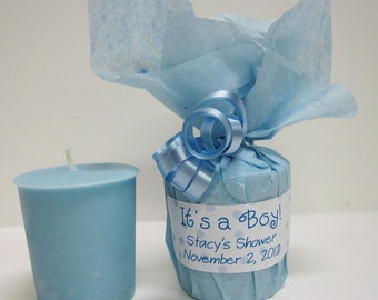 Baby Shower Favors - 10 Baby Powder Scented Soy Votives - It's a Boy