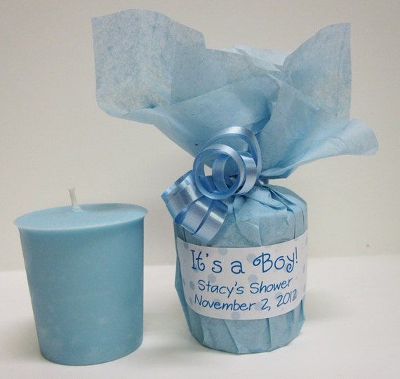 Baby shower favors 10 baby powder scented soy votives for Baby boy shower decoration