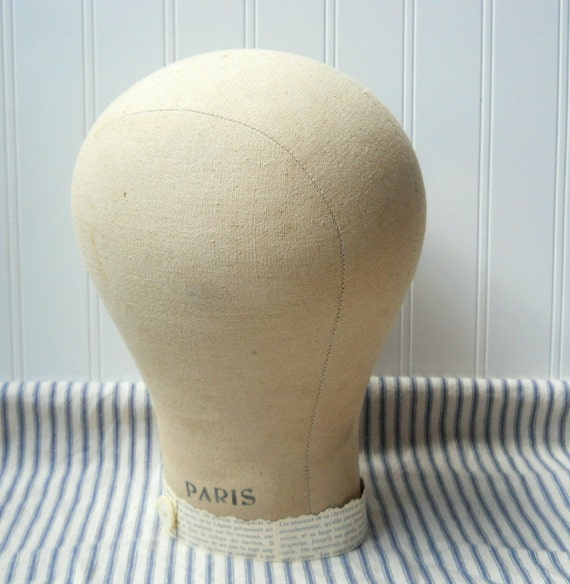 Mannequin head wig stand hat display Upcycled vintage muslin canvas French Paris chic