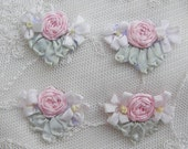 4pc Vintage Chic Pastel Antique Pink Silk Ribbon Embroidered Daisy Spider Rose Flower Applique Christening Gown Baby Doll Hair Bow