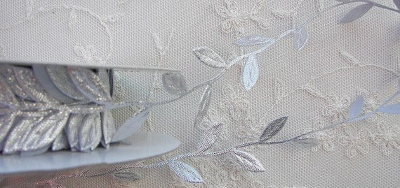 SALE 3yds silver leaf trim on a vine great for scrapbooking quilts clothing holiday bridal