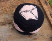 Penny Rug Series: Geometric Pink and Black Felted Wool Penny Rug Pincushion