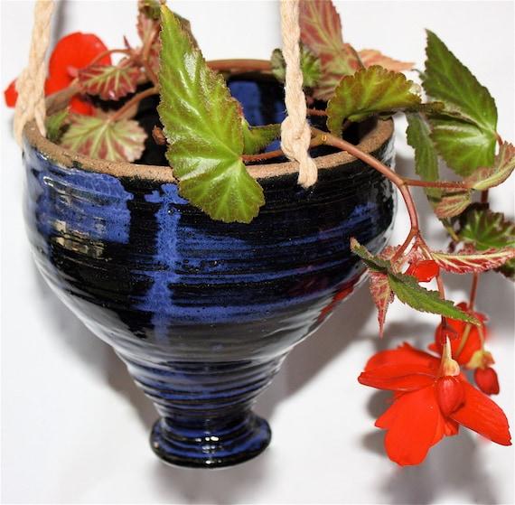 Blue  Hanging Planter Handthrown