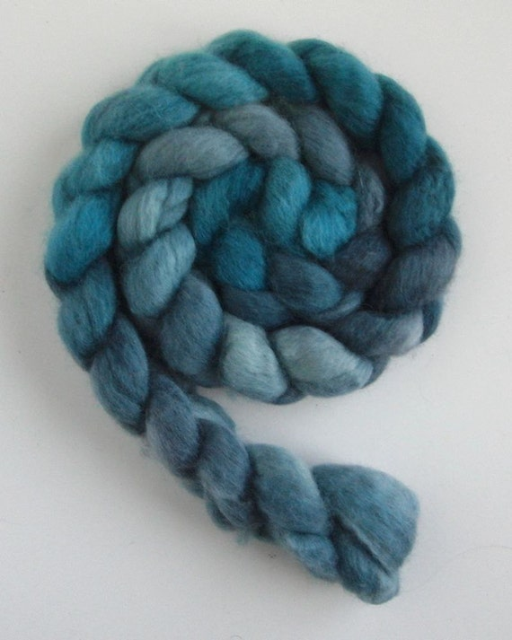 BFL Wool Roving  - Hand Dyed Spinning or Felting Fiber, Blue Grey Tonal