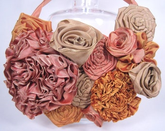 Ribbon flower bib statement necklace -- French ribbon flowers in autumn hues -- a beautiful gift for her