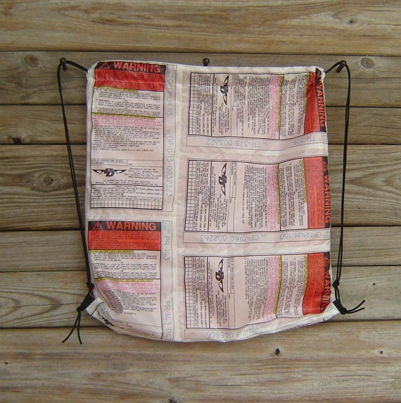 Drawstring Backpack PD Parachute Warning Labels Orange Lining