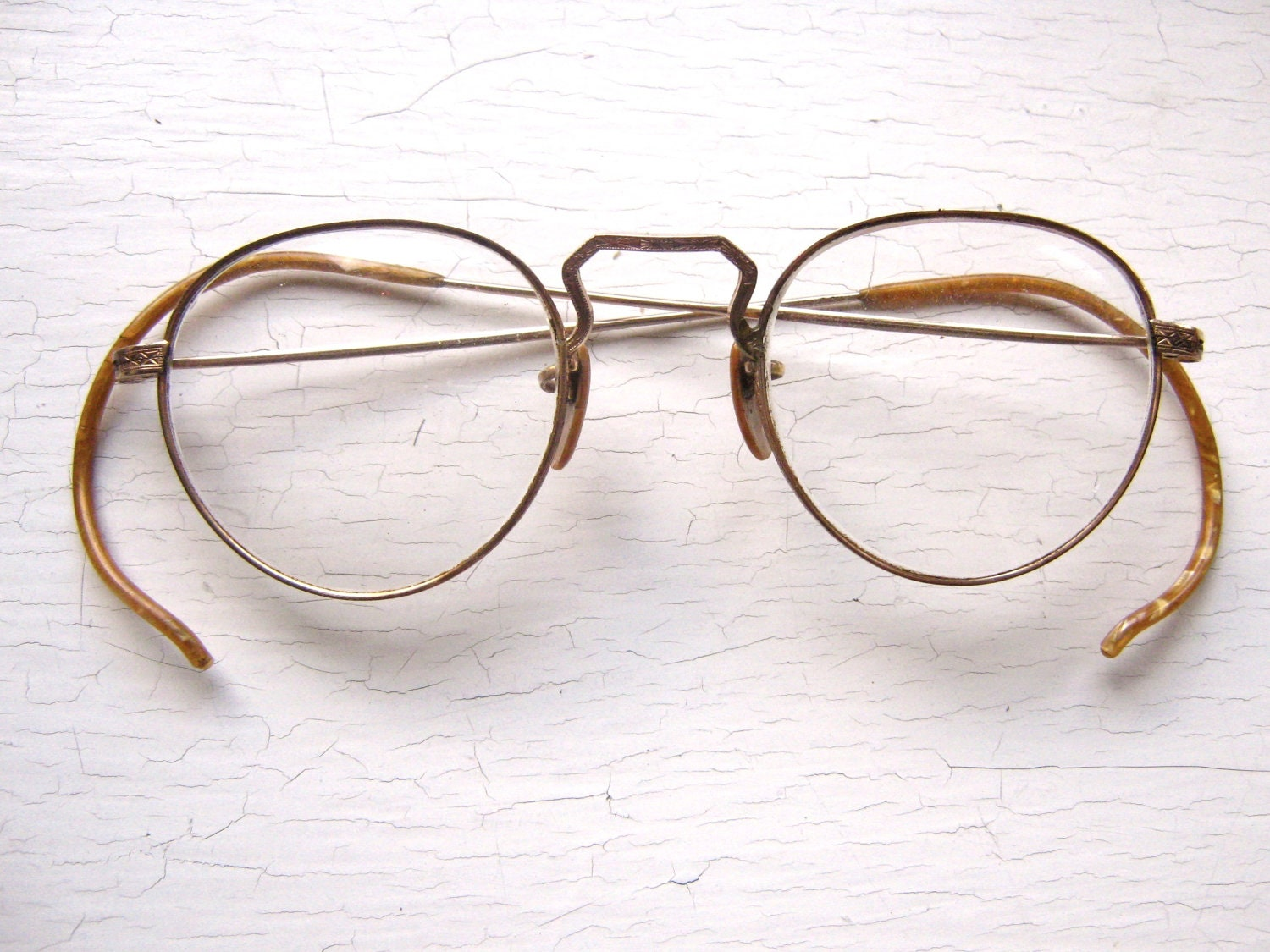 Glasses Frames Creaking : Pre WWII 1920s-30s Gold Filled Chased Metal Round