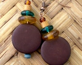 WOOD - Earrings, GREEN, YELLOW, Brown, Casual, Simple, Light Weight, Ear, Pierced, Copper, Natural, Glass,