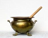Vintage Brass Cauldron Planter