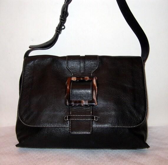 saleAdreinne Vittadini thick soft gen leather shoulder  cross body messenger lrg bag satchel vintage 90s