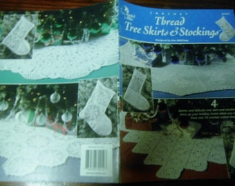 Christmas Crochet Patterns Thread Tree Skirts and Stockings Annies Attic 872212 Crochet Pattern Leaflet