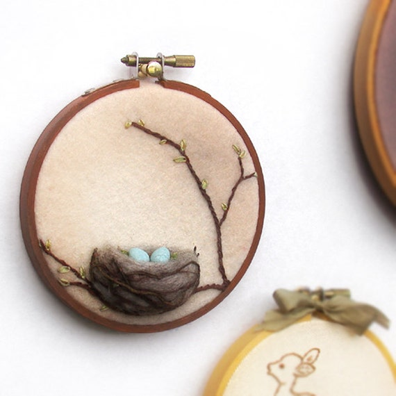 Spring Bird's Nest with Eggs - Mixed Media Wall Art in Brown 4 inch Hoop Nature Decor Made To Order