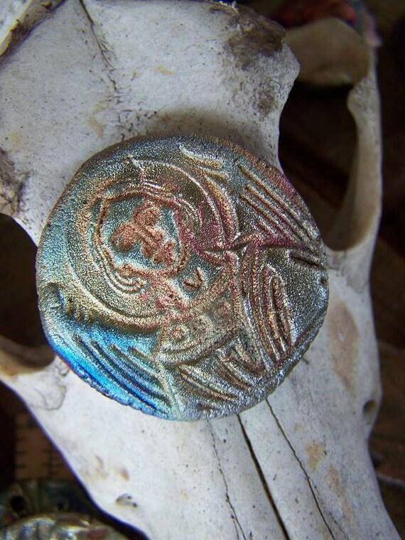 Byzantine Guardian Angel Raku  Cabochon