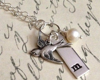 Personalized Initial Necklace - Hand Stamped Necklace - Bird Necklace