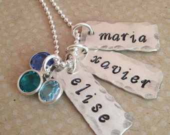 Just Three - personalized hand stamped necklace - mommy necklace - mothers birthstone necklace