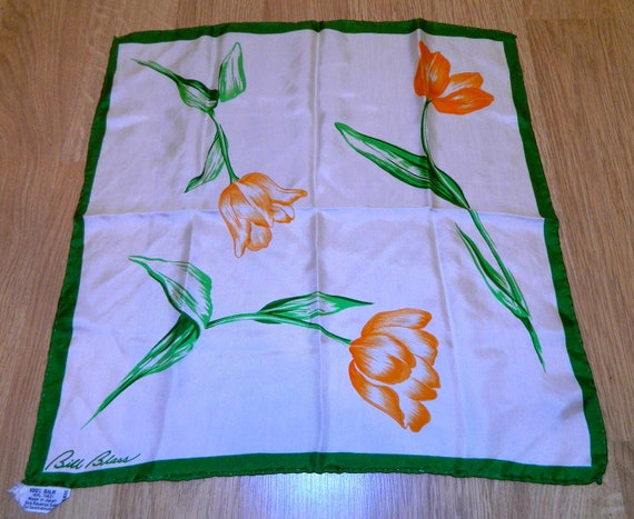 vintage silk scarf Bill Blass orange tulip floral 1980s
