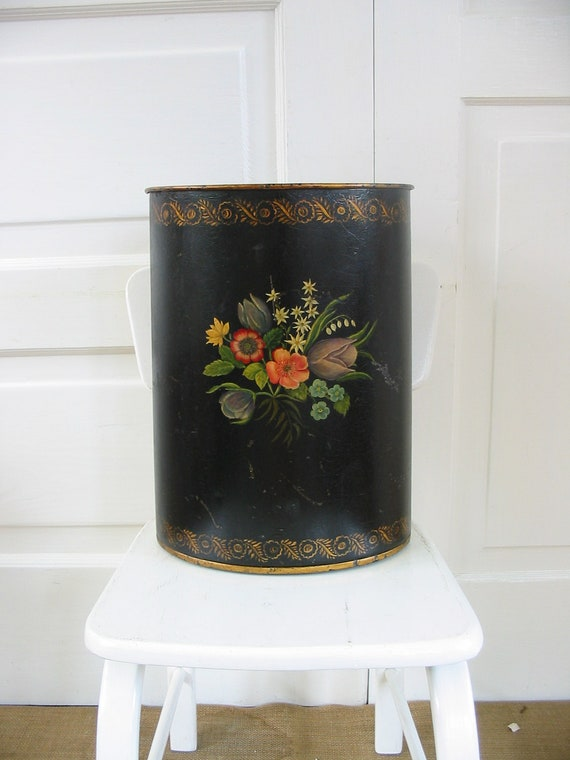 Metal Trash Can Hand Painted Flowers Black Umbrella Holder Cottage Chic
