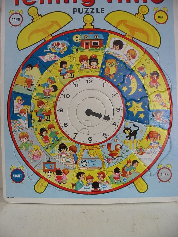 Vintage Telling Time Puzzle Children Retro Toy