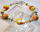 Candy Corn and Jack O Lantern Adjustable Halloween Bracelet