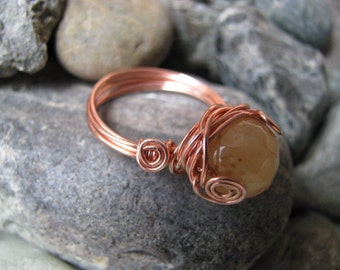 Copper Ring, Honey Jade Copper Ring, Copper Wire Wrapped Ring, Beige Ring, Size 7 Ring