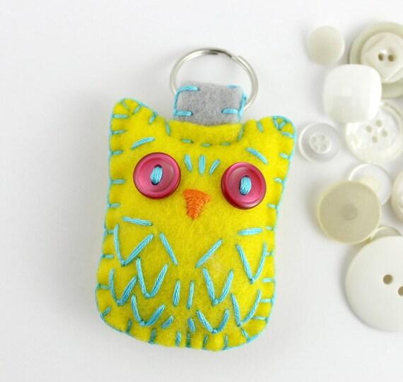 Felt Owl Keychain Yellow Sky Blue Pink Embroidery Plush Cute Ready to Ship