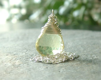 Lemon Quartz Necklace Sterling Silver Wire Wrap pendant gemstone jewelry, Lemonade